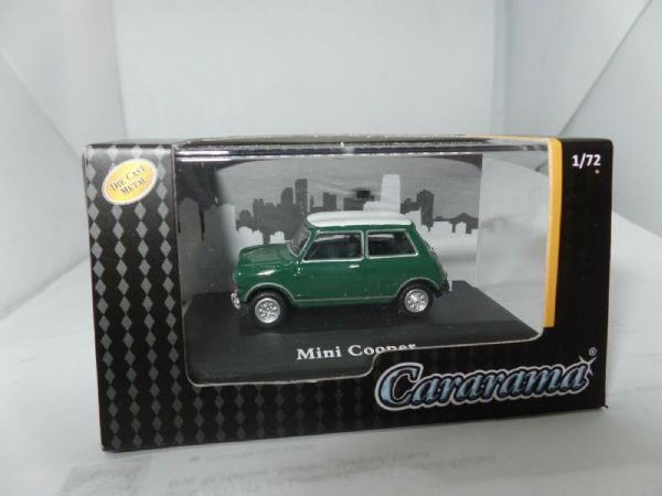 Cararama 7-15541 1/72 Scale Leyland Mini Cooper Dark Green White Roof